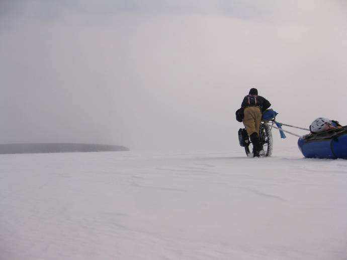 Walking the bike to Basswood Island. 2009